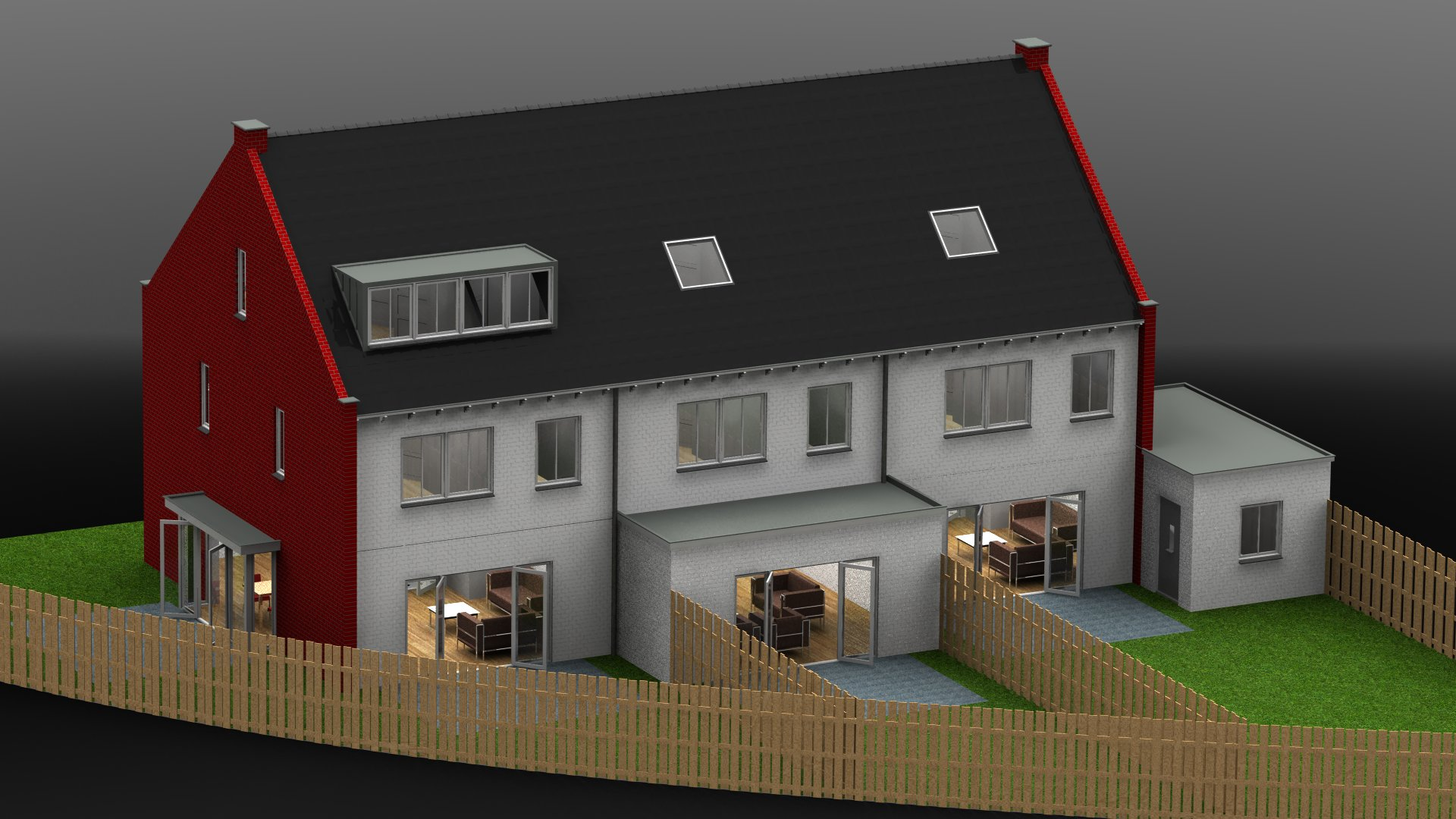 Huizenblok achterkant