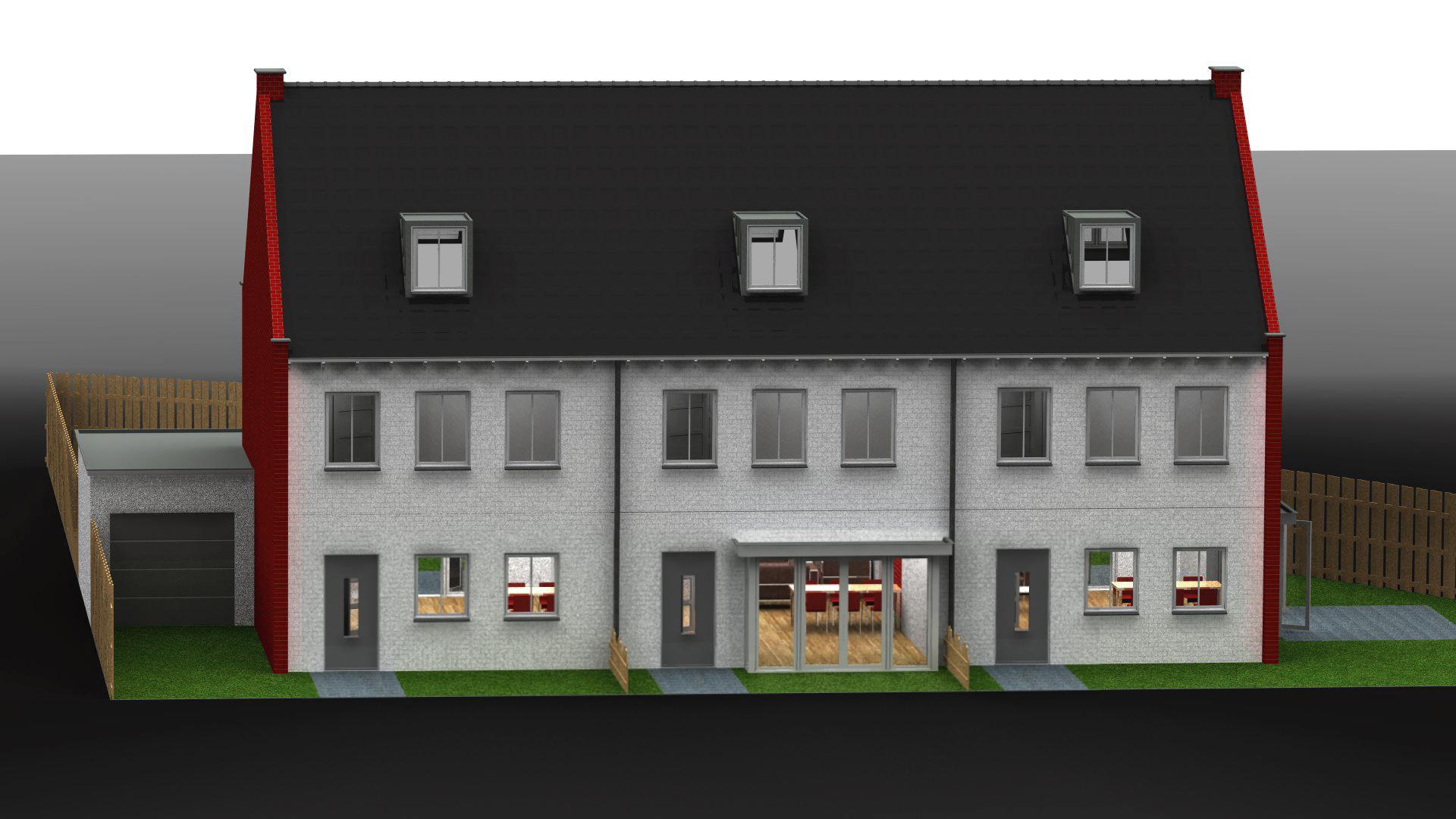 Huizenblok voorkant